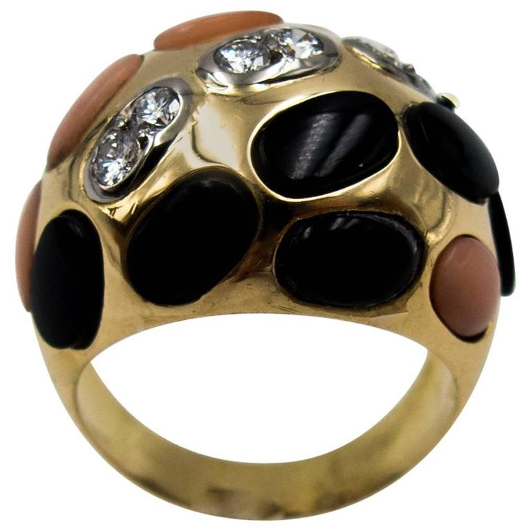 Bold French Angelskin Coral Onyx Diamond Dome Ring For Sale