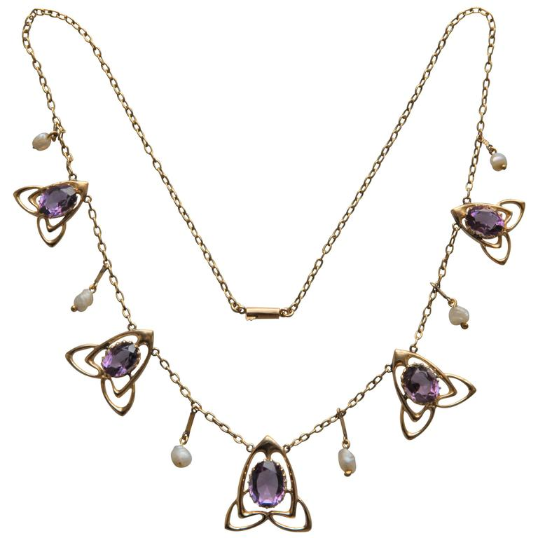 Archibald Knox Liberty & Co Amethyst Gold Necklace For Sale
