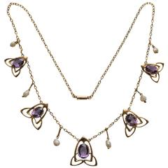 Archibald Knox Liberty & Co Amethyst Gold Necklace