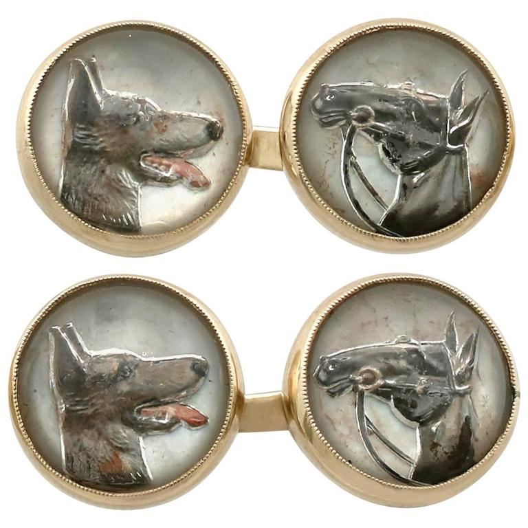 Antique Essex Crystal Yellow Gold Dog and Horse Cufflinks