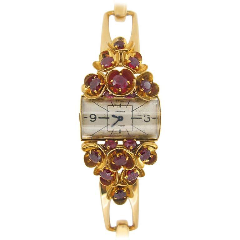 Cartier Ladies Yellow Gold Ruby Set Wristwatch