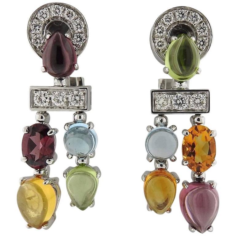 Bulgari Allegra Gold Diamond Multi Gemstone Earrings