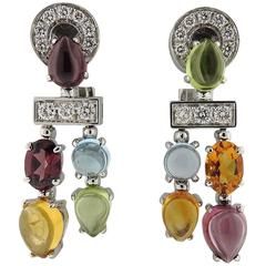 Bulgari Allegra Gold Diamond Multi Gemstone Earrings