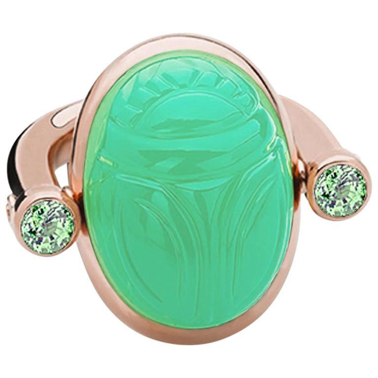 Colleen B. Rosenblat Chrysophrase Tourmaline Rose Gold Scarab Ring 1