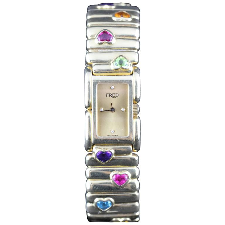 Fred Lady Wristwatch in Gold and Semi Precious Stones, circa 1990 1