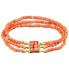 Antique 19th Century French Coral Pearls Bracelet with Gold Clasp