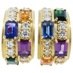 Multi Gemstone and Diamond Earrings
