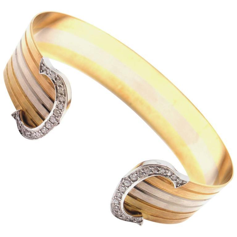 cc752af645996 Cartier Double C Diamond Tri-Color Gold Cuff Bangle Bracelet