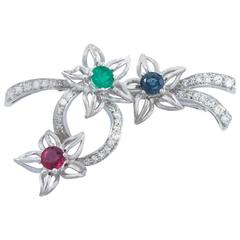 Platinum Brooch with Diamonds, Emerald, Ruby and Blue Sapphire