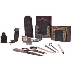 Antique Sewing Needlework Set in fitted bound book, circa 1840