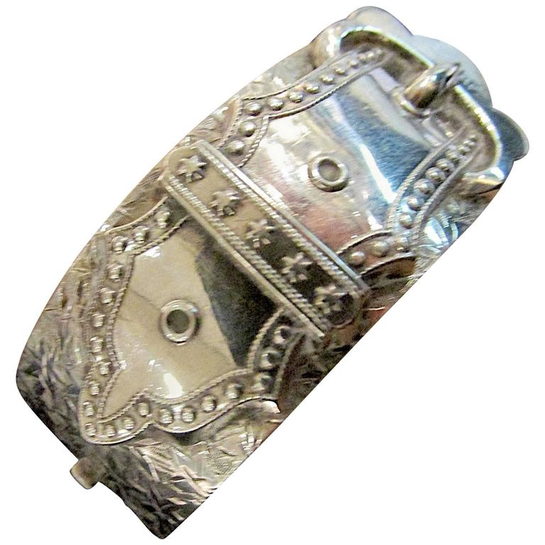 Antique Sterling Silver Buckle Bracelet 1