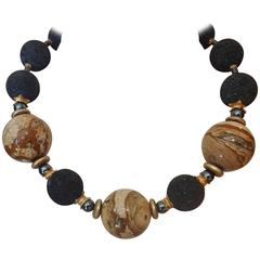 Michael Kneebone Picture Jasper Lava Rock Hemetite Bead Necklace