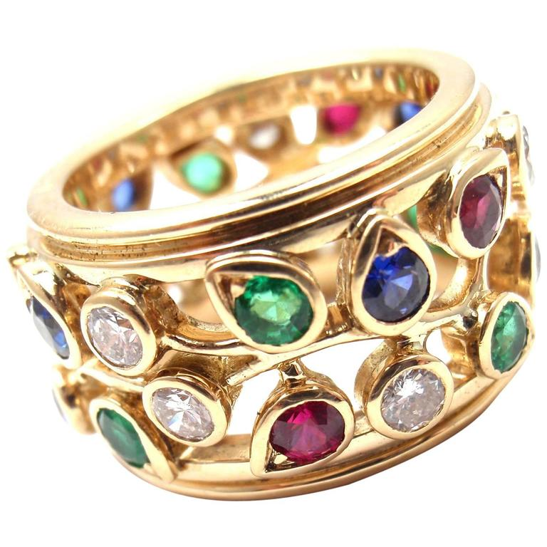 Cartier Diamond Sapphire Emerald Ruby Wide Yellow Gold Band Ring