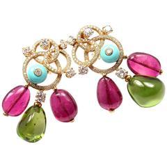 Bulgari Diamond Turquoise Pink and Green Tourmaline Yellow Gold Earrings