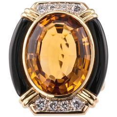 1980s Citrine Onyx Diamond Gold Ring Size 9 1/2