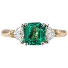 Emerald Diamond Gold Platinum Three-Stone Ring