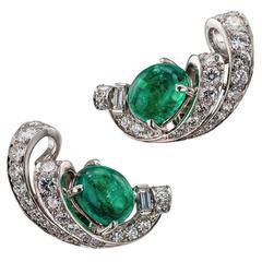 1930s Emerald Diamond Platinum Ear Clips