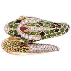 1960s Green Enamel Yellow Gold Snake Bangle Bracelet Signed 'Claire'