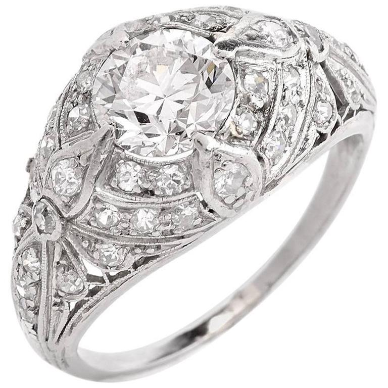 Dome Shaped Bands: 1920s Filigree Diamond Platinum Dome Shape Engagement Ring