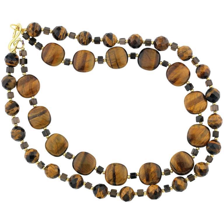 Natural Tiger Eye and Smoky Quartz Necklace