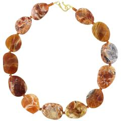 Rare Brandy Opal and Garnets Necklace