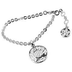 Chanel Camellia Comete Diamond Link Charm White Gold Bracelet