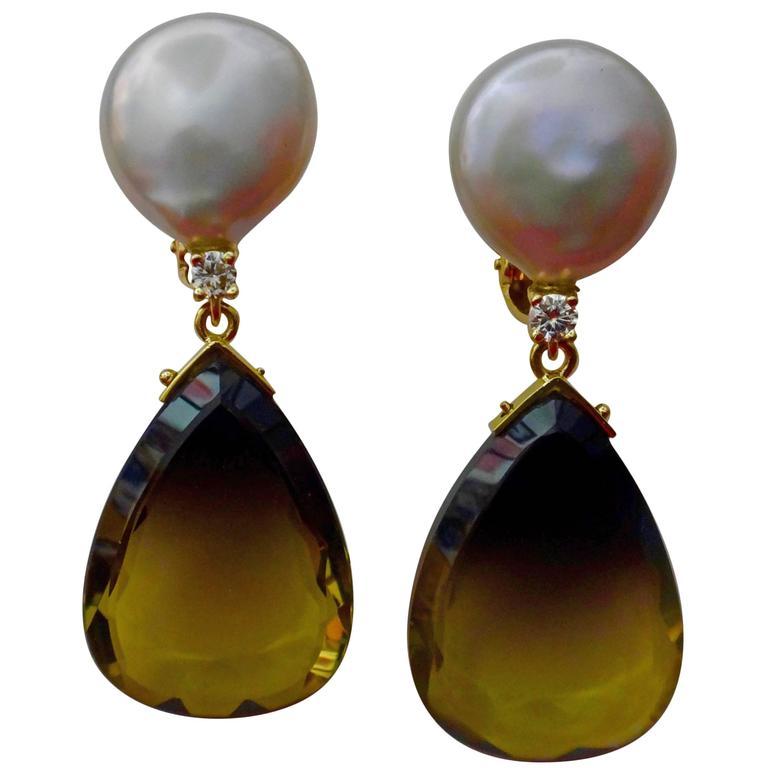 Michael Kneebone Bi-Color Quartz Coin Pearl Diamond Dangle Earrings