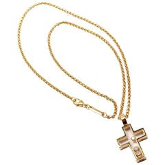Chopard Diamond Happy Cross Yellow Gold Pendant Necklace