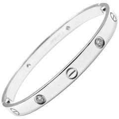 Cartier Four Diamond White Gold Love Bangle Bracelet