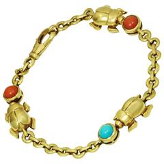 Cartier Three Beetle Coral Turqoise Yellow Gold Bracelet