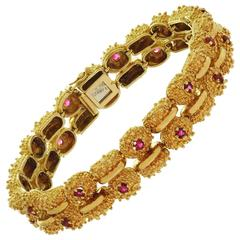 Tiffany & Co. Ruby Yellow Gold Double Row Nugget Link Bracelet
