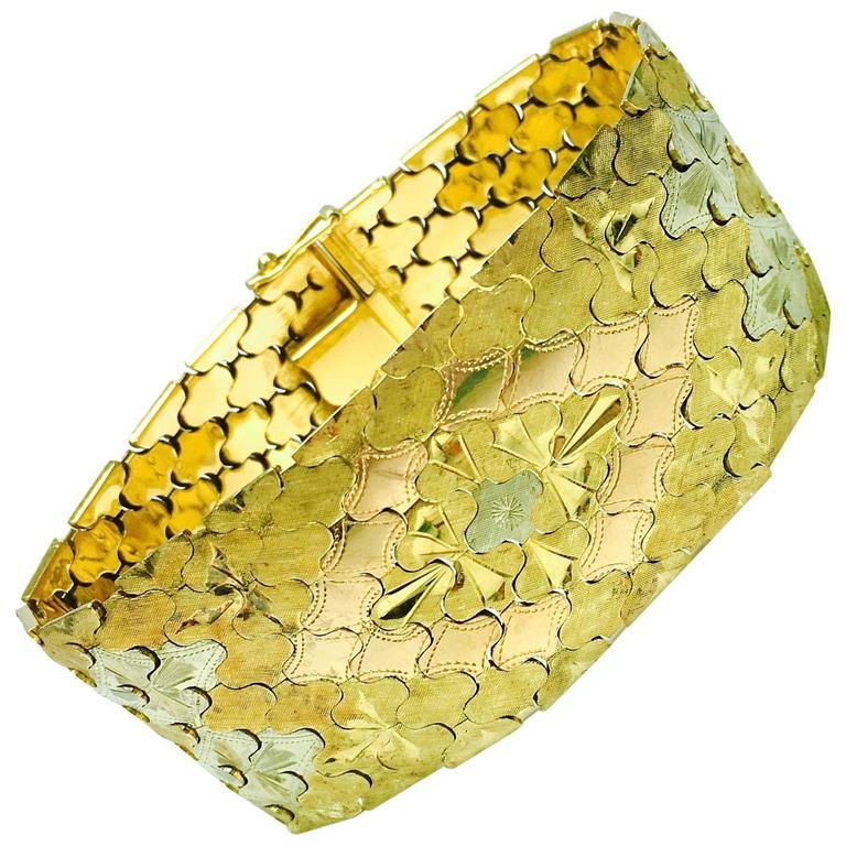 1940s Tricolor Gold Curved Link Wide Bracelet