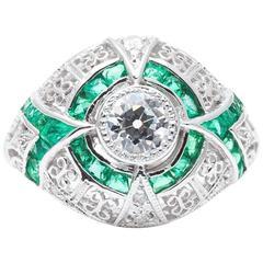 Ravishing 0.60 Carat Diamond Emerald White Gold Ring