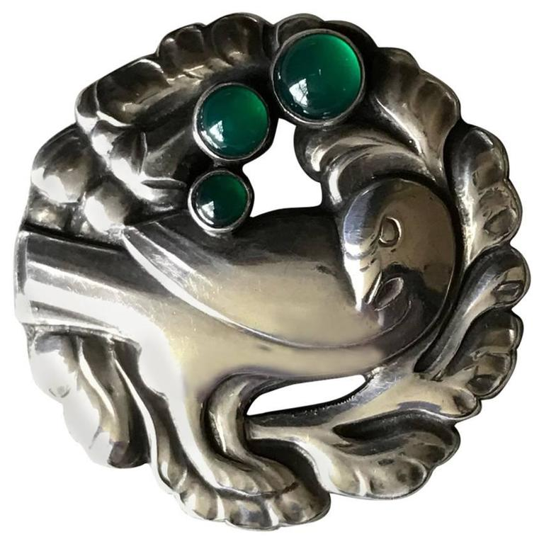 Georg Jensen Dove Brooch No 134  with Green Agate by Kristian Mohl-Hansen