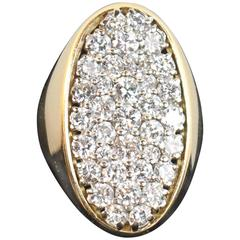 1970s Italian Diamond Pave Yellow Gold Ring