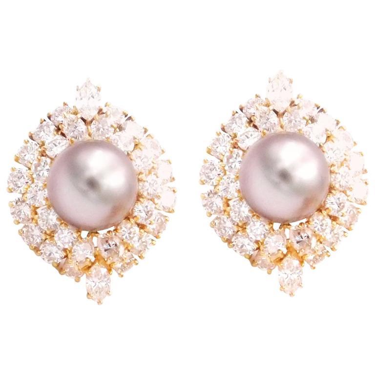 Harry Winston Tahitian Pearl and Diamond Earrings 2