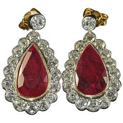 8.6 Carat Rubies Diamond Gold Earrings Natural Rubies Full Certification