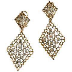 1970s Mario Buccellati Long Diamond Gold Earrings