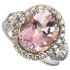 Morganite and Diamond Dress Ring 4.14 Carat