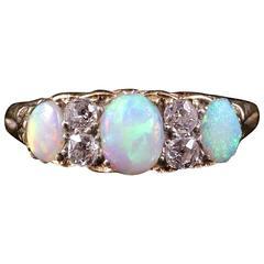 Antique Victorian Opal Diamond Gold Ring circa 1880