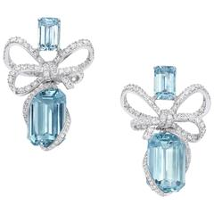 White Gold, White Diamond and  Aquamarine Bow Dangle Earrings