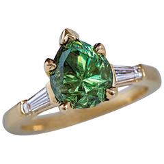 Rare 2.85 Carat Russian Demantoid Garnet Diamond Gold Ring