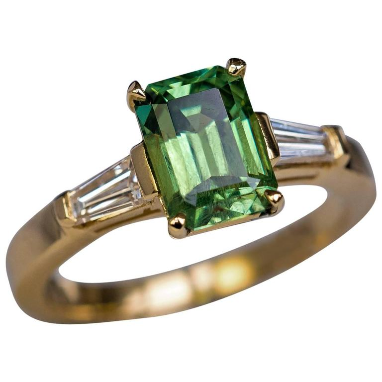 Rare Emerald Cut 1.91 Carat Russian Demantoid Diamond Ring
