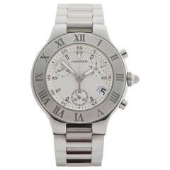 Cartier Stainless Steel Must de 21 Chronoscaph Quartz Wristwatch