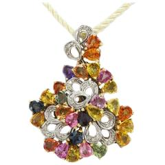 Colorful Gold Pendant  KT 0,33 Diamonds,and KT 13,16 Sapphires multicolor