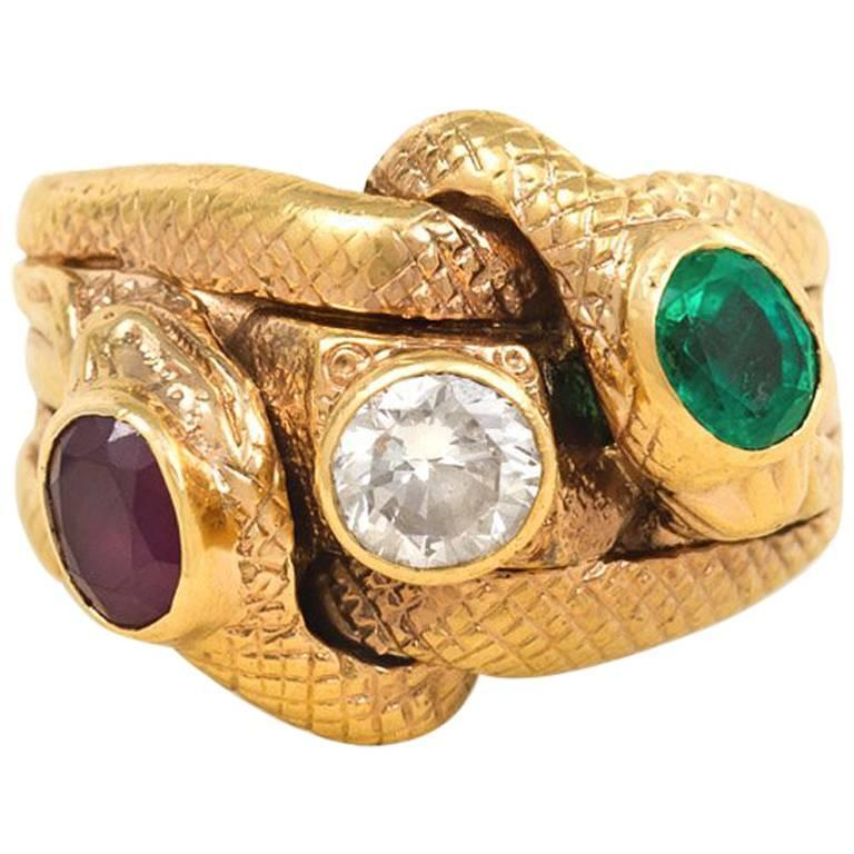 Antique Gold and Multi-Gemstone Double Serpent Ring