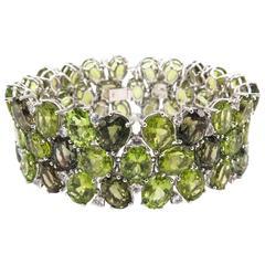 Peridot and Green Tourmaline White Gold Bracelet