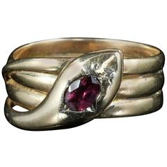 Antique Victorian Almandine Garnet Gold Serpent Ring