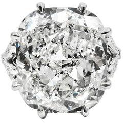 GIA Certified 10.01 Carat Cushion Cut Diamond Platinum Ring