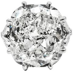 GIA Certified 10.01 Carat Cushion Cut Diamond Platinum Ring